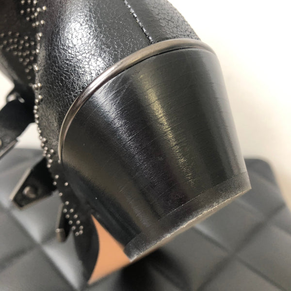 CHLOÉ Black Susanna Studded Ankle Booties Size 37.5