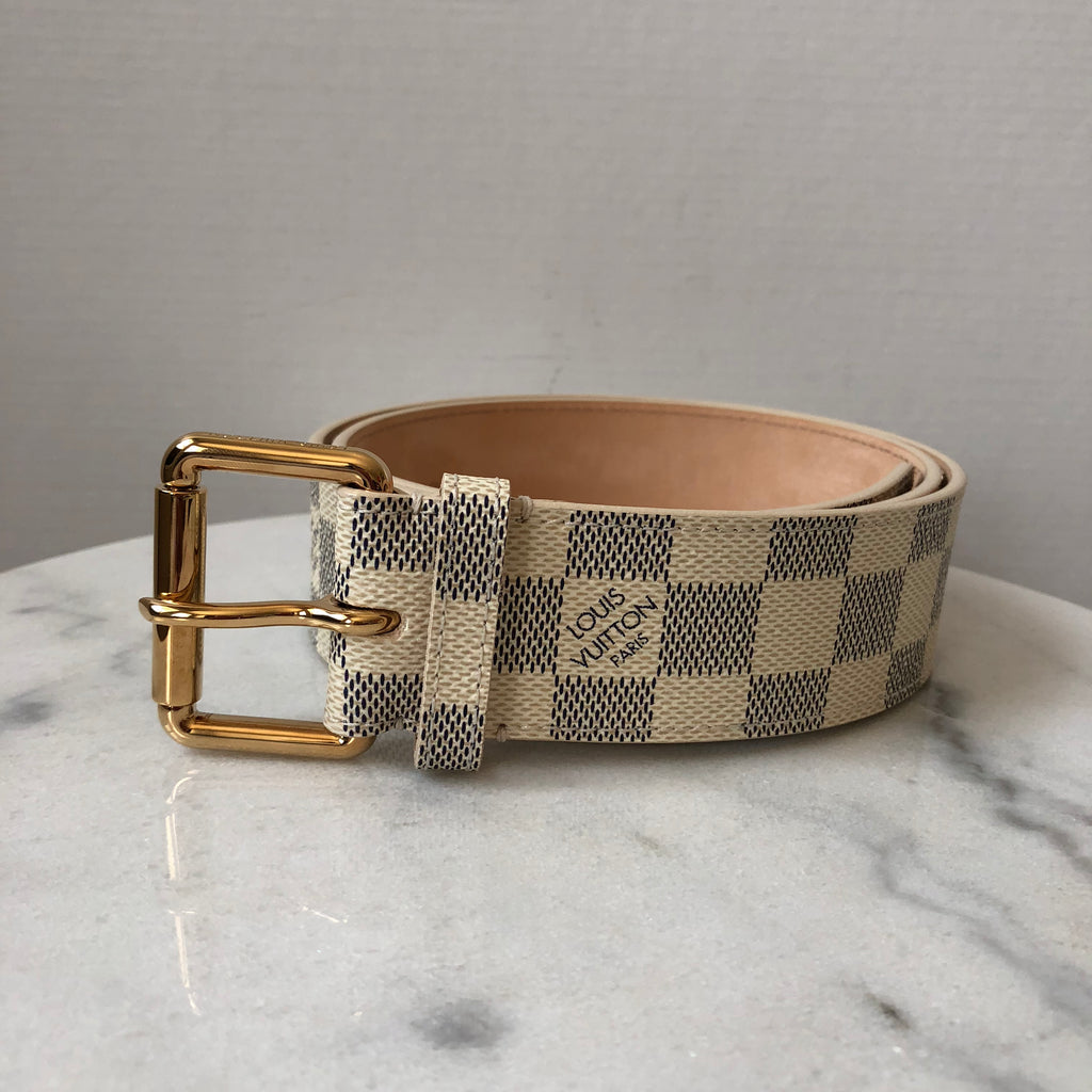 5f70dc58ec8b Louis Vuitton Damier Azur 40mm Belt Size 80 32