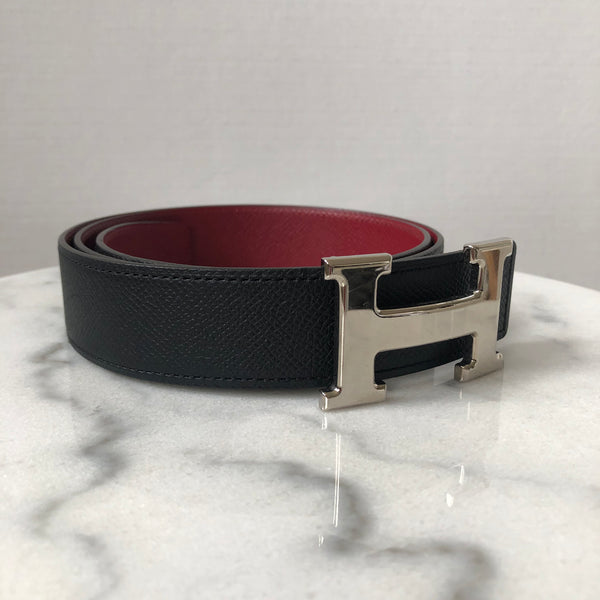 Hermes Black/Red Reversible Belt with Buckle
