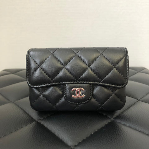 Chanel Black Lambskin Small Black Wallet