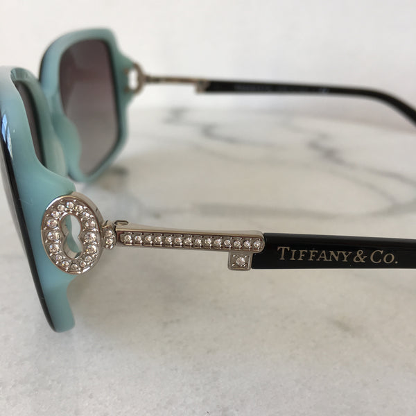 Tiffany Black/Blue Crystal Lock Collection Sunglasses