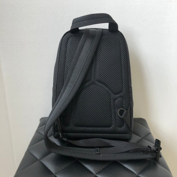 Prada Unisex Black/Blue Nylon and Leather One Shoulder Backpack