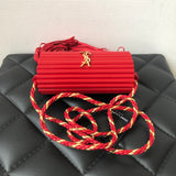 SAINT LAURENT Red Ribbed Plexiglass Lambskin Fringe Monogram Opium Box Crossbody/Shoulder Bag