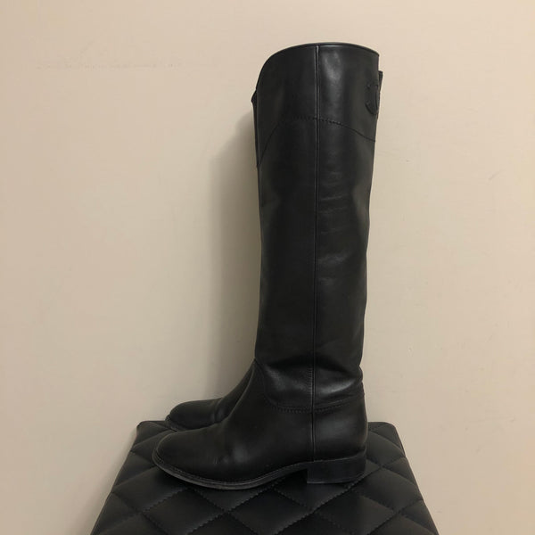 Chanel Black Leather Knee High Riding Boots Size 38.5