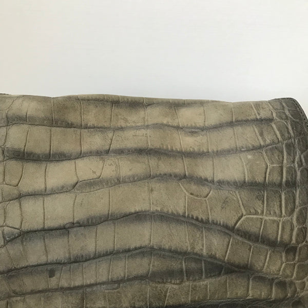 Saint Laurent Grey Croc Embossed Nubuck Shoulder Bag