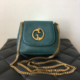 GUCCI Teal Pebbled Leather '1973' Small Crossbody Bag