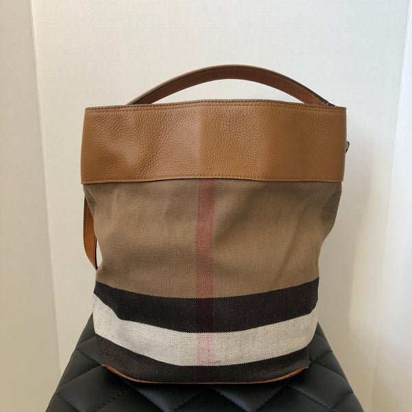Burberry Tan Susanna Canvas/Leather Check Bucket Bag