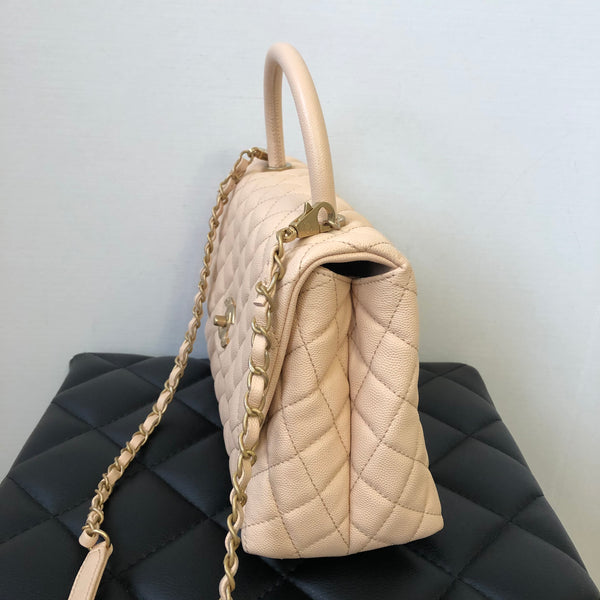 CHANEL Beige Caviar Quilted Small Coco Handle Flap Bag