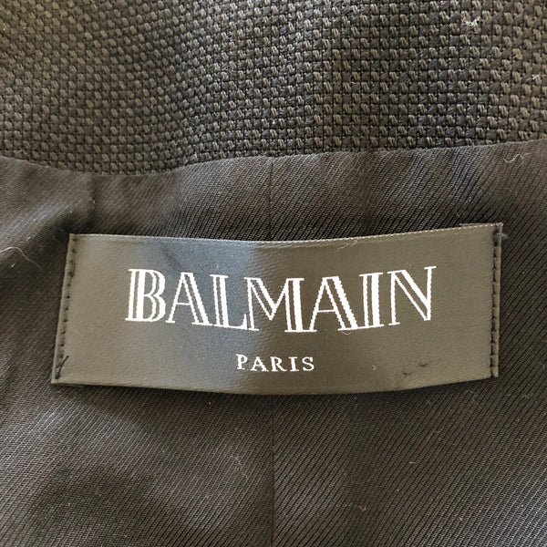 BALMAIN Black Wool-Blend Double-Breasted Blazer Size 38 (US 6)