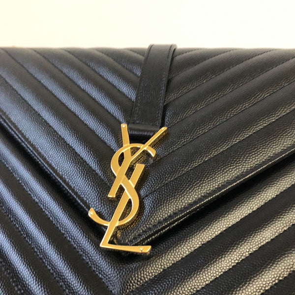Saint Laurent Black ENVELOPE LARGE BAG IN QUILTED GRAIN DE POUDRE EMBOSSED LEATHER Shoulder/Crossbody Bag