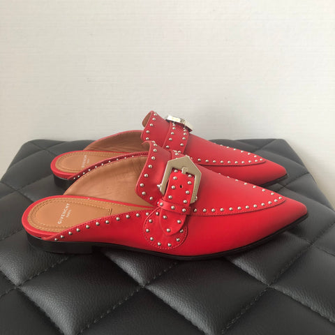Givenchy Red Studded Mules Size 35