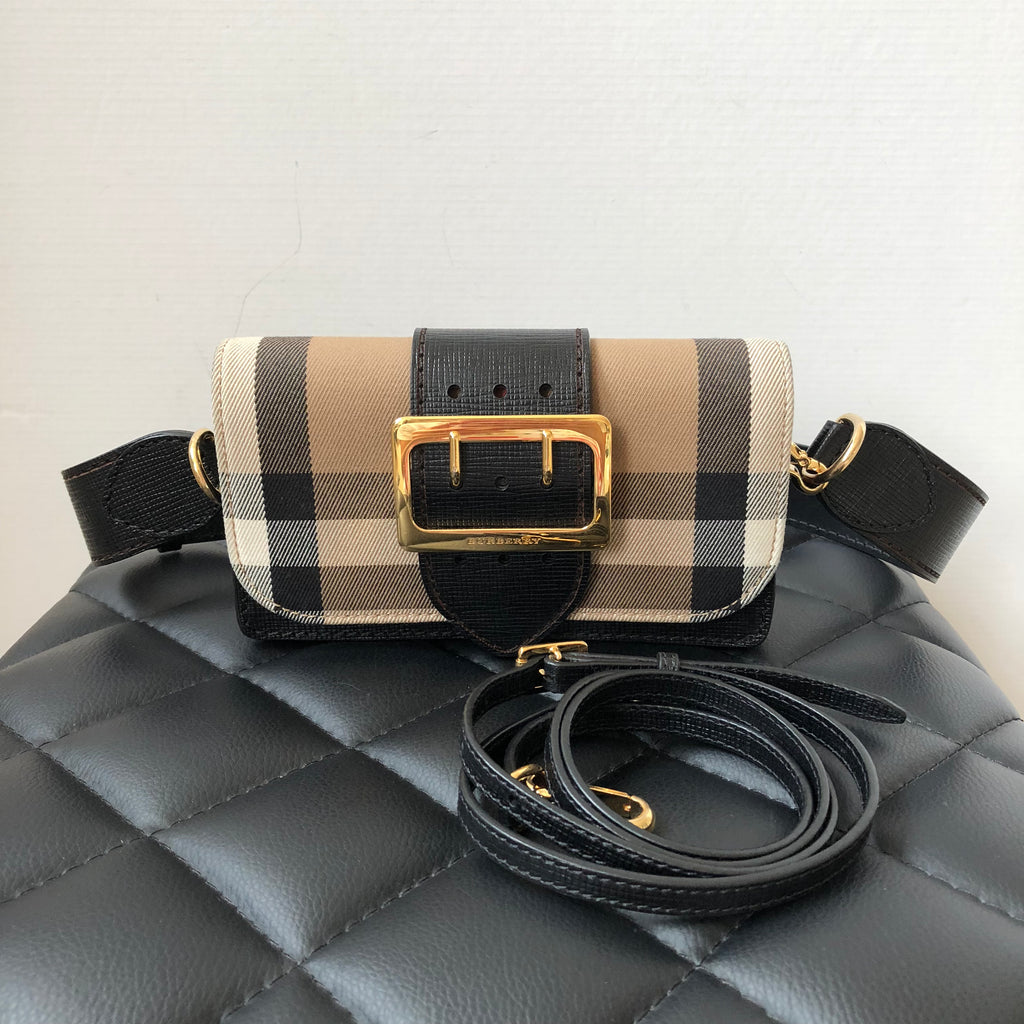 1be7021a04fc Burberry Black Small Bridle House Check   Leather Buckle Crossbody Sho