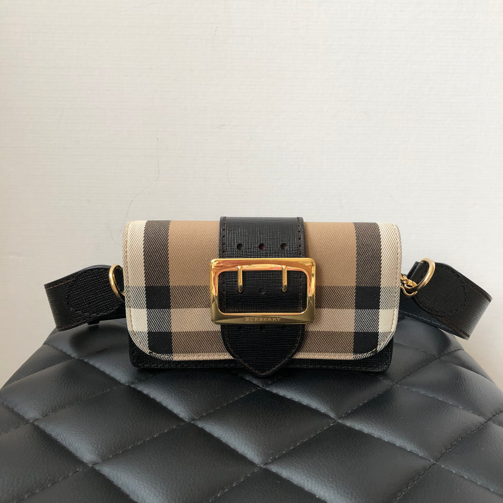 03103cd320a2 Burberry Black Small Bridle House Check   Leather Buckle Crossbody Sho
