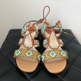 René Caovilla Beaded Tie Up Sandals Size 39