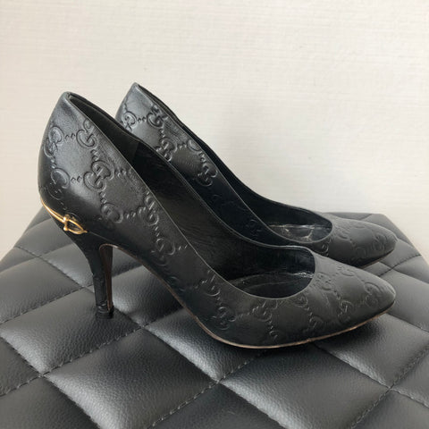 Gucci Black Guccissima Leather Pumps Size 36