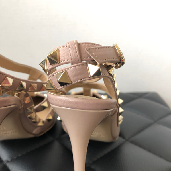 Valentino Nude/Poudre Patent Rockstud Pumps Size 37