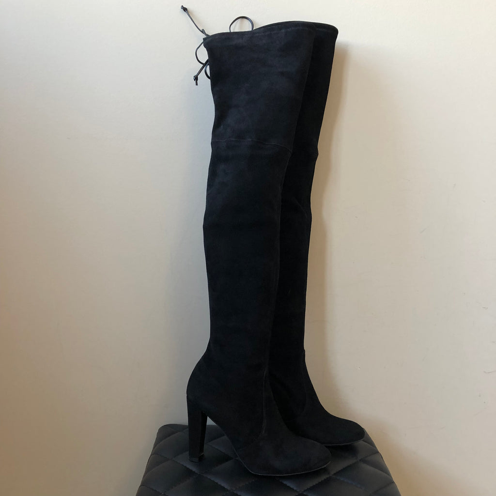 89c276e895f Stuart Weitzman Black Suede HIGHLAND Over the Knee Boots Size 7 ...