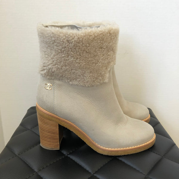 Chanel Light Grey Shearling Boots Size 38.5