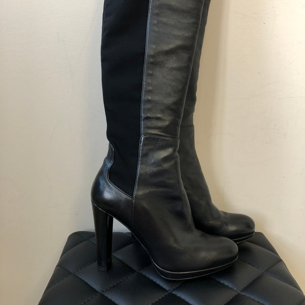 Stuart Weitzman Black Leather HIGHLINE Stretch Knee High Boots Size 7.5
