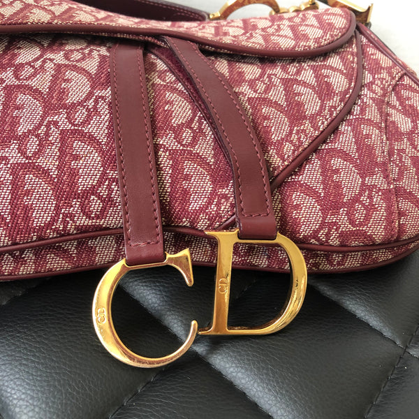 Dior Vintage Logo Red Bordeaux Jacquard Fabric Double Saddle Bag