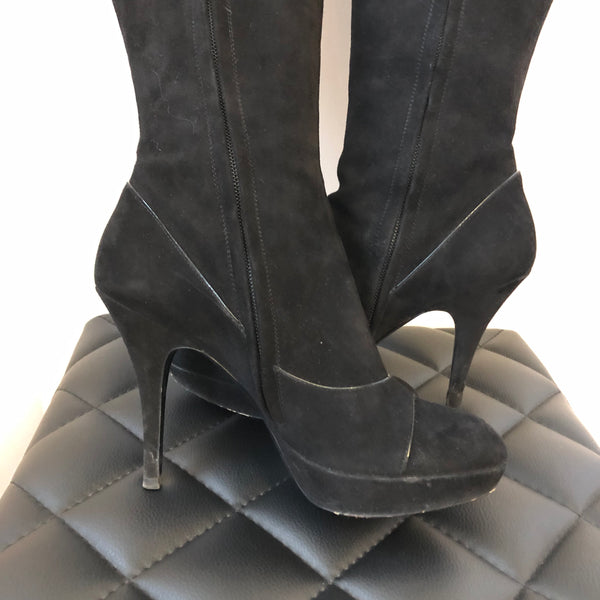 Louis Vuitton Black Suede Chelsea Knee High Boot Size 37