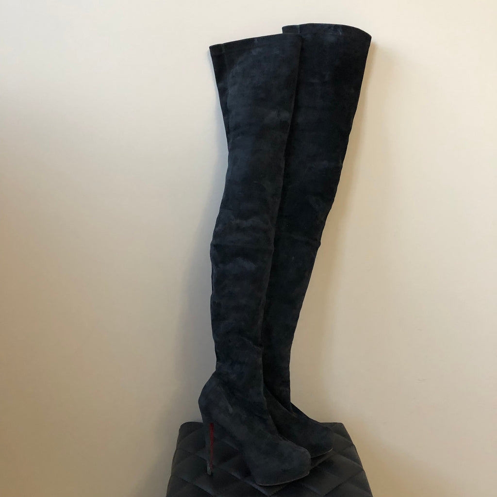 Christian Louboutin Black Suede Monique 140 Thigh High Platform Boots Size 38 5