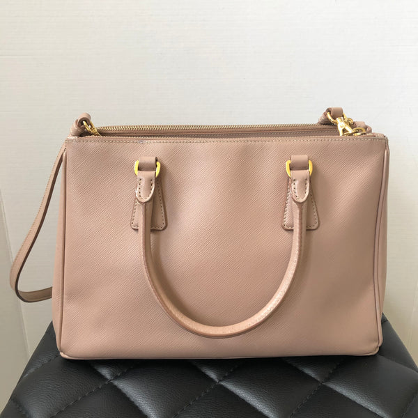 Prada Small Saffiano Lux Cammeo (Blush Pink) Double Zip Crossbody/Shoulder Bag