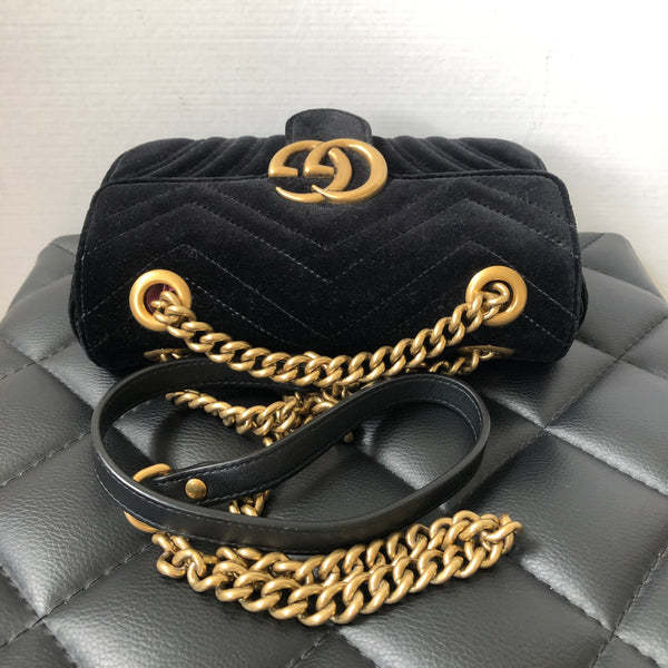 Gucci Black GG Marmont velvet mini crossbody bag