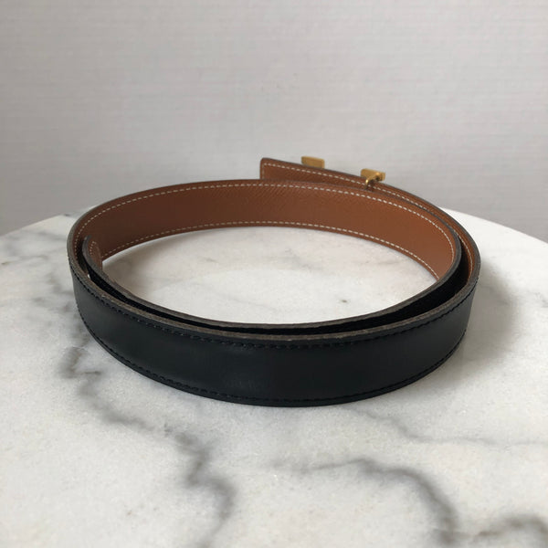 Hermes Black and Brown Reversible Belt Size 65