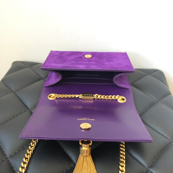 Saint Laurent Purple Suede Small Tassel Crossbody Bag