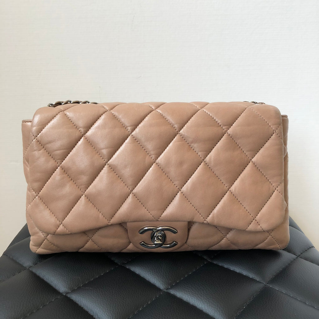 622d34a4accb Chanel Dark Beige/Light Brown Lambskin Seasonal 3 Flap Bag | Forever Red  Soles