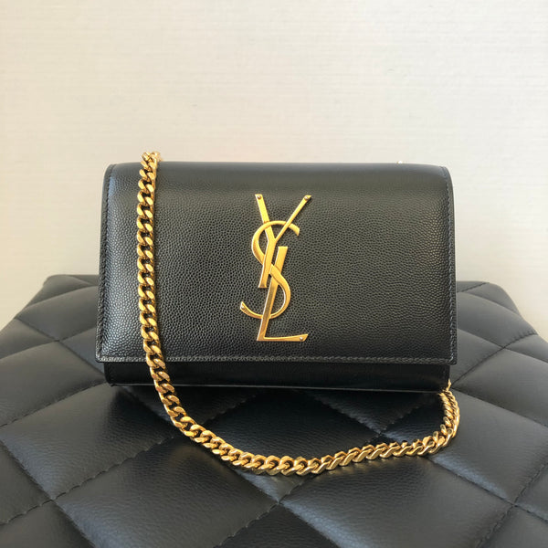 Saint Laurent Small Monogramme Chain Black Pebbled/Textured Leather Crossbody Bag