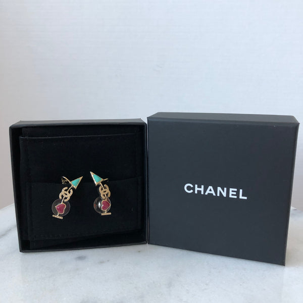 Chanel Enamel I Heart CC Pale Gold Cuff Earrings