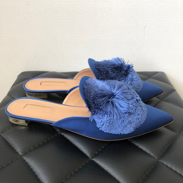 Aquazzura Blue Powder Puff Satin Mules Size 38