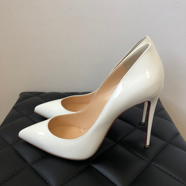 Christian Louboutin White Patent Pigalle Follies Pumps Size 41