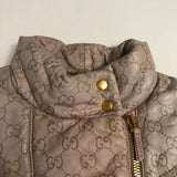 Gucci Kids Pale Pink Monogram Leather Jacket Size 8