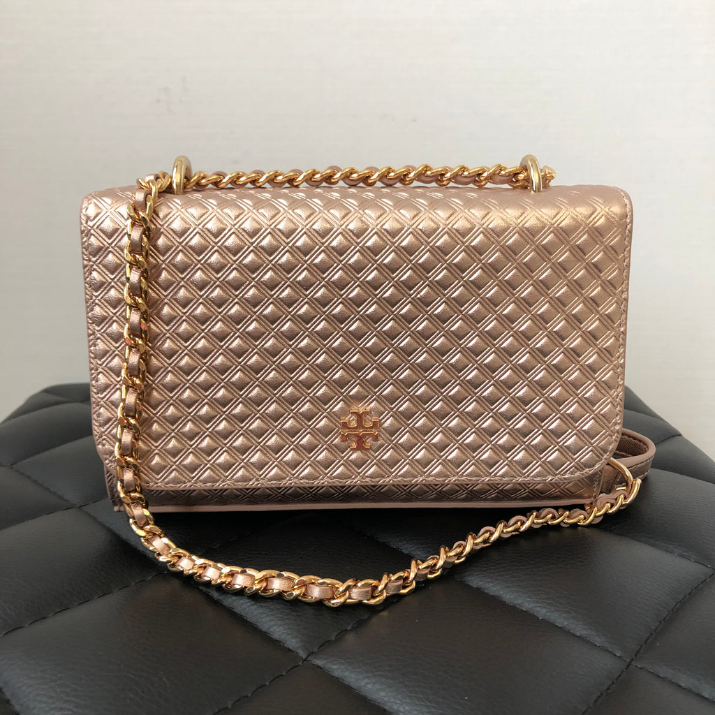 254ff5165ec1 Tory Burch Rose Gold Marion Embossed Metallic Shoulder Crossbody Bag ...