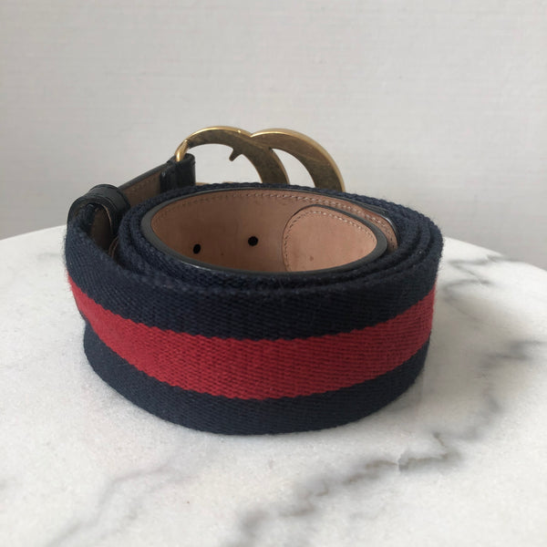 Gucci Nylon Web belt with Double G buckle Size 95/38