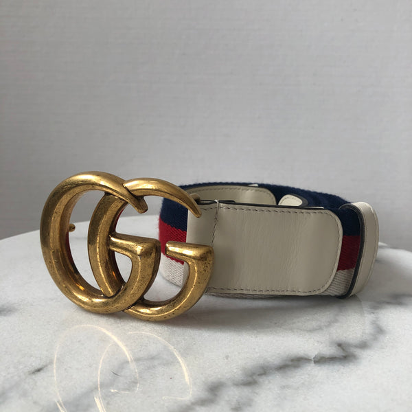 Gucci White Nylon Web belt with Double G buckle Size 80/32