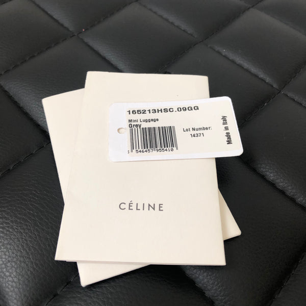 Celine Grey Smooth Leather Mini Luggage Tote