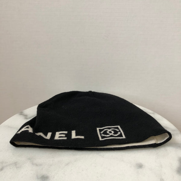 Chanel Black CC Wool Beanie Hat