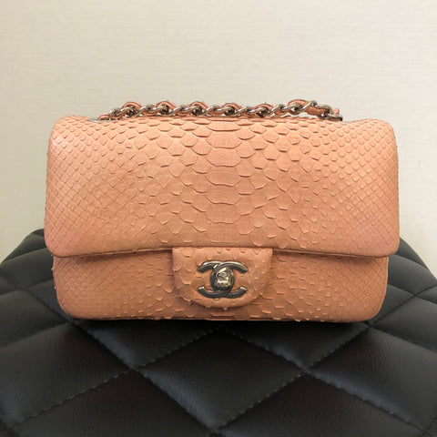 Chanel Pink Python Mini Rectangular Flap Bag