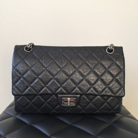 c3922fe1fd89a4 Chanel Black Classic Aged Calfskin Quilted 2.55 Reissue 226 Flap Bag with Ruthenium  Hardware
