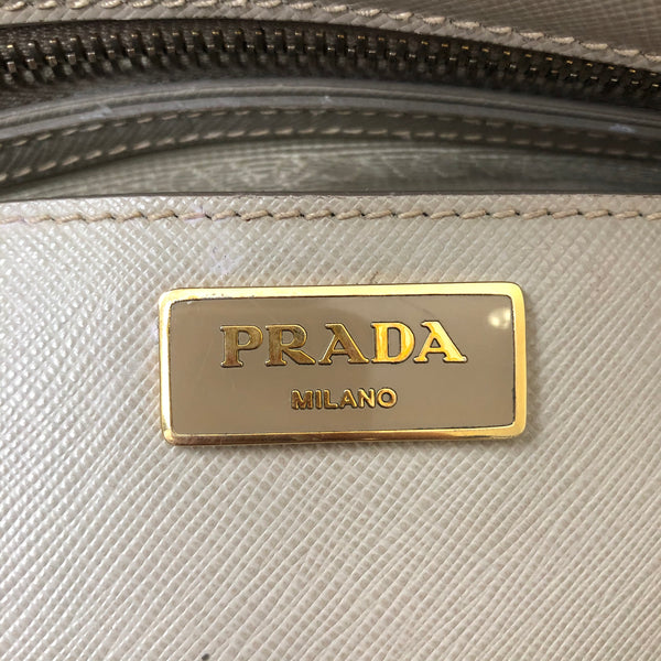 Prada Medium Pomice (Light Grey) Saffiano Double Zip Crossbody Bag