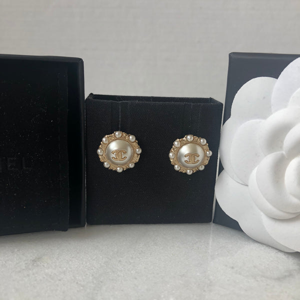 Chanel Pearl Gold Tone Earrings