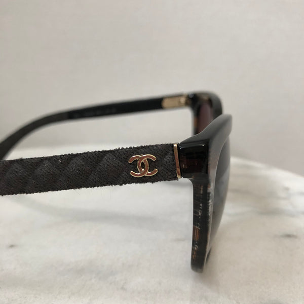 Chanel Brown Quilted Sunglasses