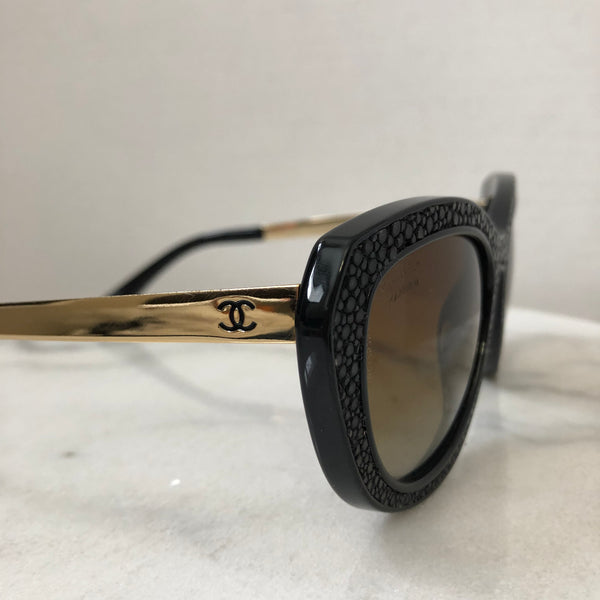 Chanel Black/Gold Stingray Polarized Sunglasses