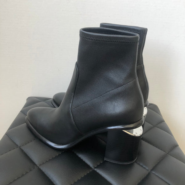 Alexander Wang Black Anna Stretch Cut Out Booties Size 37