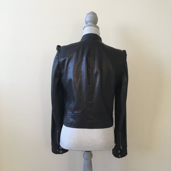 Juicy Couture Black Leather Jacket Size Medium (fits US 4-6)