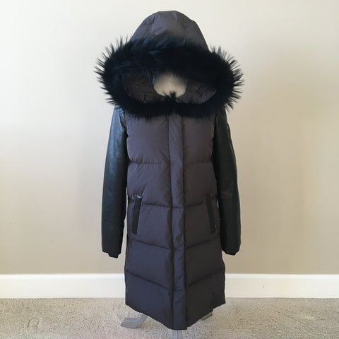 RUDSAK Grey/Black Goose Down Melion Leather Sleeved Long Parka With Fur Size XS (fits US 4-6)